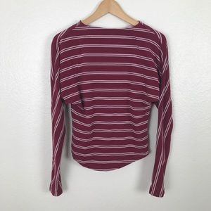 Free People Striped Cutout Back Long Sleeve Top